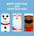 cards with santa claus reindeer and snowman vector image vector image