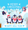 christmas with penguins holidays greetings vector image vector image
