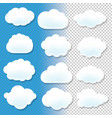 cloud icons with blue and transparent background vector image
