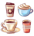 coffee cup with foamy liquid plastic mag vector image vector image