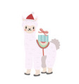 cute llama christmas icon flat cartoon style vector image vector image