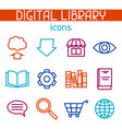 digital library icon set e-books reading and vector image vector image