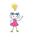 doodle girl with innovative idea light bulb vector image vector image