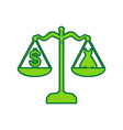 dress and dollar symbol on scales lemon vector image vector image