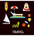Egypt travel and beach vacation flat icons vector image