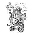 fantastic steam punk machine engraving vector image
