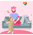 gay friends couple sitting on a couchand vector image