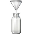 Glass bottle and funnel vector image vector image