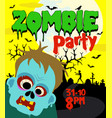 halloween party background with zombie vector image