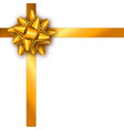 holiday gift card with golden ribbon and bow vector image vector image