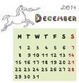 horse calendar 2014 december vector image