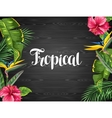 Invitation card with tropical leaves and flowers vector image