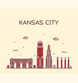 kansas city skyline missouri usa line city vector image vector image