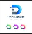 letter d tech logo design vector image