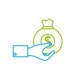 line man hand with bag with cash money vector image vector image