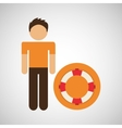 male character traveler lifebuoy vector image
