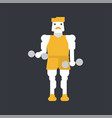 man character doing biceps exercise vector image