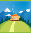 mountain landscape house on the mountain chalet vector image vector image