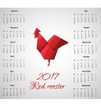 New year calendar with chinese symbol Red Rooster vector image vector image