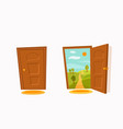 open door cartoon colorful flat vector image vector image
