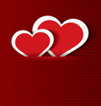 Paper hearts in pocket textured vector image vector image