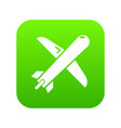 plane icon green vector image