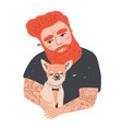 portrait of cute redhead bearded man with tattoos vector image vector image