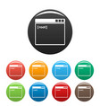 root window icons set color vector image