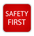safety first icon internet button vector image vector image