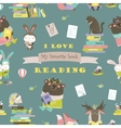 Seamless pattern with animals reading books vector image