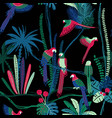 seamless pattern with parrots in jungle vector image