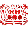 set red ribbons isolated on a white background vector image vector image