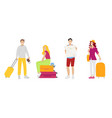set travel people man and woman suitcase tickets vector image vector image