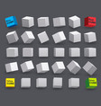 set white cubes in various tilt angles vector image