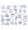 sketch of kids dreams hand drawn girl boy toys vector image vector image