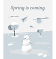 Spring is coming Snowman melts vector image vector image