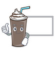 thumbs up with board ice chocolate character vector image vector image