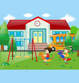 two boys playing at school vector image vector image