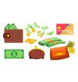 wallet money coins purse bill online vector image vector image