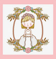 wedding woman with frame flowers plants leaves vector image vector image