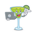 with laptop margarita character cartoon style vector image