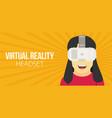 woman wearing virtual reality headset vector image