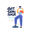 working out with dumbbell hand drawn vector image vector image