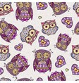 Seamless pattern with decorative owl vector image