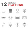 12 post icons vector image vector image