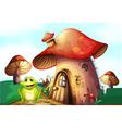 A frog beside a mushroom house vector image