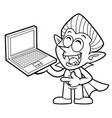 black and white funny dracula mascot is holding a vector image
