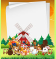 blank paper in nature with animal farm vector image