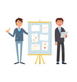 business meeting and discussion of ideas on board vector image vector image
