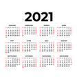calendar for 2021 on white background vector image